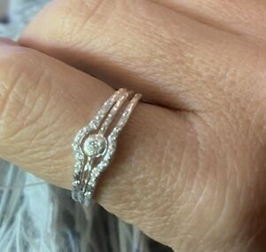 3 By Charlotte Sterling Silver And CZ Rings Stacked Together -RRP $267
