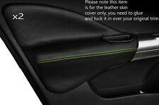 GREEN Stitch 2x FRONT DOOR CARD Trim Cuoio Pelle Copertine Si Adatta Nissan Juke 10-15