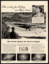 1942 BELGIN Watch - First Woman Bearing Army Insignia - WWII - Retro VINTAGE AD
