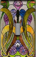 ART NOUVEAU STAINED GLASS ABSTRACT HOME WALL DECOR SINGLE LIGHT SWITCH PLATE
