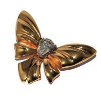GONTIE Broche noeud papillon couleur or cristal blanc bijou