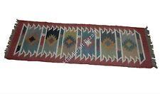 Ethnic Runner Vintage Hall Entrance Carpet Kilim Yoga Mat Indian Floor Rug Dari