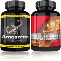 Amostrax Pre-Workout Booster + Holaxen Testosteron Booster Muskelaufbau extrem