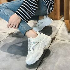 Womens Fashion Wedge Hidden Heel Platform Sneakers Casual Lace Up Shoes Athletic