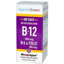 Fonte di qualità superiore, metil B12 1000 MCG, B-6 & Acido Folico, microlingual 60 schede