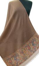 Lovely Brown Wool Shawl with Kani Borders Subtle Paisley Jamavar Stole Pashmina