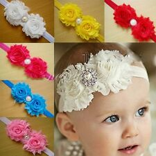 10PCS Kid Baby Girls Infant Pearl Flower Headband Hair Bow Band Accessories Cute