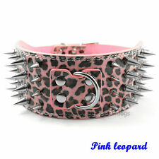 "3"" Wide Spiked Studded Dog Collar PU Leather Pet Collars Pitbull Boxer Mastiff"