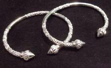 Pair Of Handmade Screw Head West Indian Sterling Silver Bangles