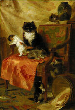 KITTENS PLAY AROUND BIG CHAIR Modern Russian postcard by Henriëtte Ronner-Knip