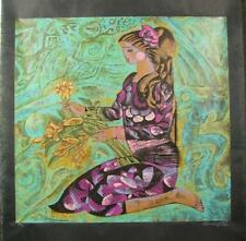 Zhou Ling A GIRL IN VIOLET Yunnan School Print Rice Paper Limited Edition Signed