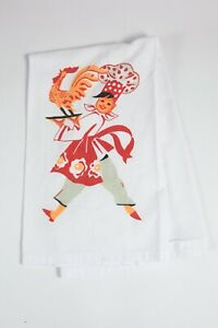 Mid Century Modern Tea or Dish Towel 100% Cotton Chef w/ Rooster Cock on Platter