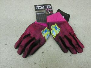 NEW ICON WOMENS ANTHEM BLENDER Pink Motorcycle Riding Gloves Street X-LARGE XL