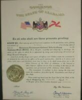 Governor George Wallace Signed Alabama State Militia Appointment Certificate