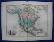 Original antique map AMERICA, USA, CANADA, MEXICO, STATUE OF LIBERTY Migeon 1891