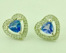 14k Solid White Gold Natural Diamond &  Trillion Tanzanite Earring  1.81 ct