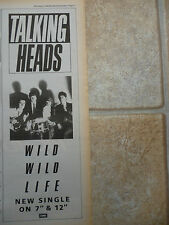 "TALKING HEADS - WILD WILD LIFE SINGLE 1986, B&W N.M.E. ADVERT PICTURE 15"" X 5.5"""