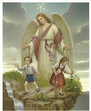 """Catholic Print Picture Large GUARDIAN ANGEL w/ boy and girl 8x10"""" ready to frame"""