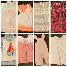 Vtg Infant Girls Dress Lot Smocked Embroidered Ruffles Overalls 6 12 Mo A24