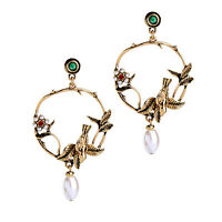 KISS ME Gold Plated Birds Flowers Big Earrings for Women ed01396