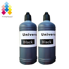 2 Black 100ml Universal Printer Refill Ink Bottles for CISS or Refillable