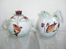 ***Unique*** Vintage Ceramic Pottery FISH Cream Creamer Sugar HAND PAINTED MADE