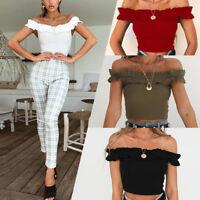 Women's Casual Elastic Summer Tank Tops Vest Blouse Off-Shoulder Crop Tops Shirt