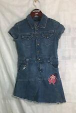 Girls Denim Dress 10/12 Short Sleeve Pockets Babydoll Cloths Embroidered Flower