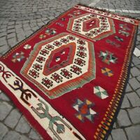 Turkish Handwoven Red Wool Area Rug 3x4 ft Vintage Authentic Small Denizli Kilim