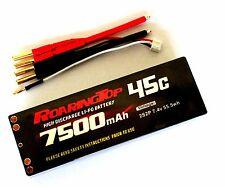 RoaringTop LiPo Battery Pack 45C 7500mAh 2S2P 7.4V HardCase with Bullet Sockets