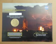 NASA STS-132 Atlantis Shuttle Certificate of Appreciation 2010 Space Flown Seal