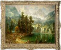 Hand painted Old Master-Art Antique Oil painting Landscape Mountain on canvas