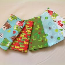 100% Cotton Fat Quarter Bundle, Christmas Owls, Christmas colours, red and green