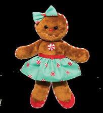 "Ginger Bread Girl 7.5"" long GREEN stuffed plush Douglas Christmas gingerbread"