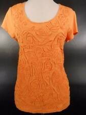 Beautiful Women's Size 2 Chico's Orange Textured Floral Design Short Sleeve Top