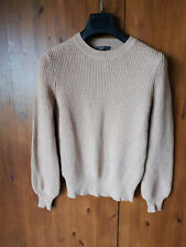 RIBBED JUMPER TOP Textured Light Brown Beige Rib XS / UK 4 / 32 - VGC