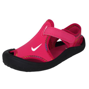 Nike Sunray Protect Toddlers Sandal Girls 344993 600 Black Pink Suede Beach DS