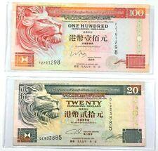 Lot of 2 Banknotes $20 $100 Hong Kong Dollars  8B