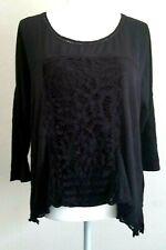 Meadow Rue Anthropologie Black Top Lace Applique Crochet Sheer Medium