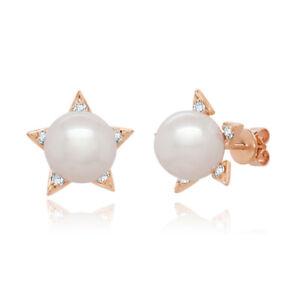 0.10CT 14K Rose Gold Real Fresh Water Pearl Natural Diamond Star Stud Earrings