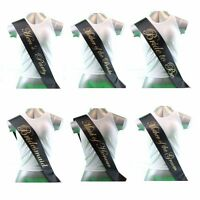 HENS PARTY BRIDAL SASH SASHES BRIDE BRIDESMAID MAID OF HONOUR - BLACK + GOLD