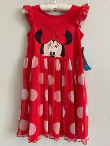 NWT Disney Store Minnie Mouse Red White Minnie Face Tulle Girls Dress SZ 9/10