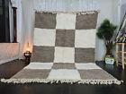 Handmade Moroccan Beni Ourain Rug Carpet 6'7x9'8 Checkered White Brown Wool Rug