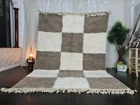 Handmade Moroccan Beni Ourain Rug Carpet 6'7x9'8 Geometric White Brown Wool Rug