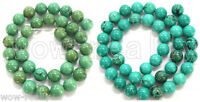 """Natural Old Rock Turquoise Round Loose Beads 15"""" 4mm 6mm 8mm 10mm 12mm 14mm"""