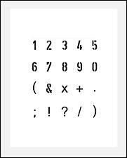 Schablone Nr. 35 Zahlen 1cm hoch, Zahlenschablone 0-9 und Sonderzeichen