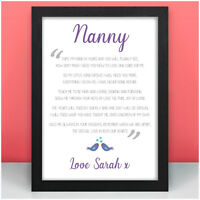 NANNY Personalised Birthday Gifts For Her Mummy Mum Granny Nanny Nan Auntie