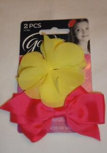 Goody 2 Pc Glam Girls Salon Clips  Yellow Flower & Pink Bow # 07586