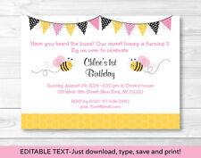 Pink Bumble Bee Printable Birthday Invitation Editable PDF