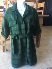 VINTAGE RAINCOAT JACKET IN GREEN PLAID BY FOREVER